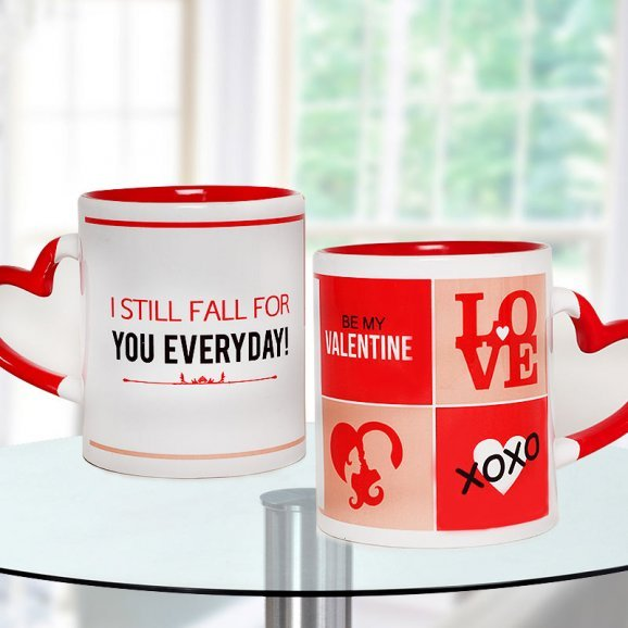 Be My Valentine White and Red Duotone Mug with Heart Shaped Handle with Both Side View