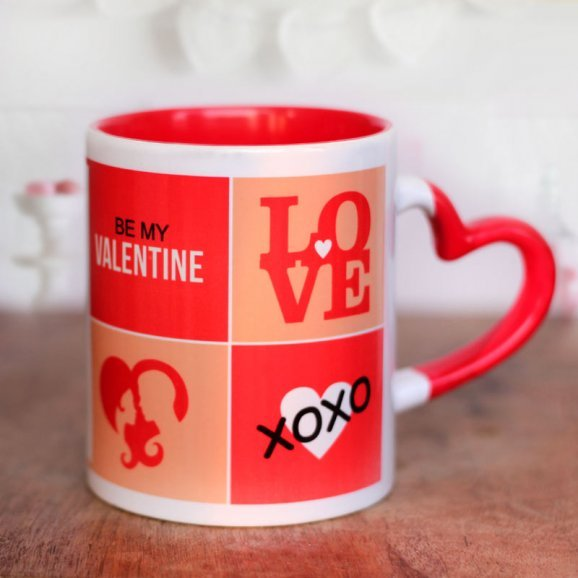 Be My Valentine White and Red Duotone Mug with Heart Shaped Handle