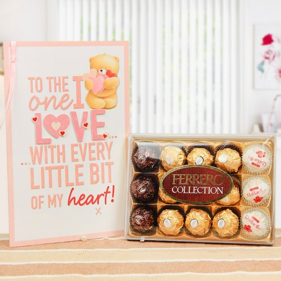 A beautiful combo of 15 ferrero rochers and a greeting card
