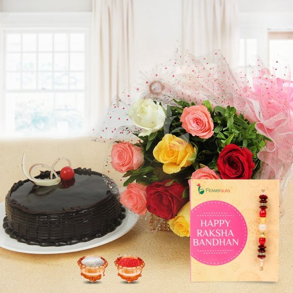 Favourite Brother Combo - 10 Mixed Roses Bouquet, Half Kg Chocolate Truffle Cake, 1 pack of Roli & Chawal