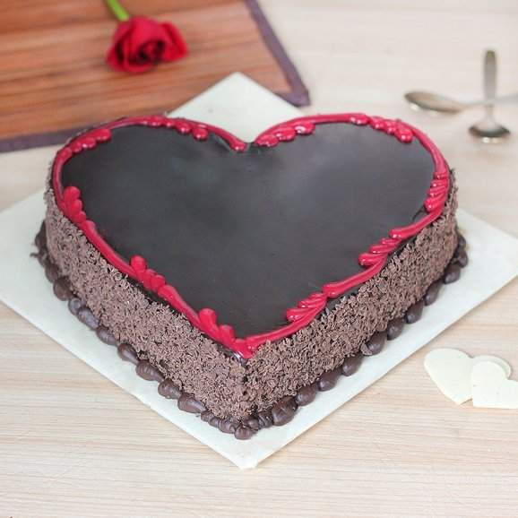 For My Beloved - Heart Shape Chocolate Cake with Normal View