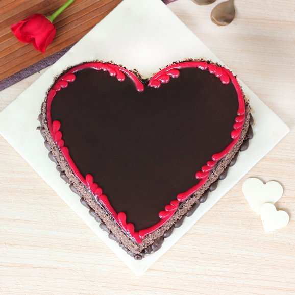 For My Beloved - Heart Shape Chocolate Cake with Top View