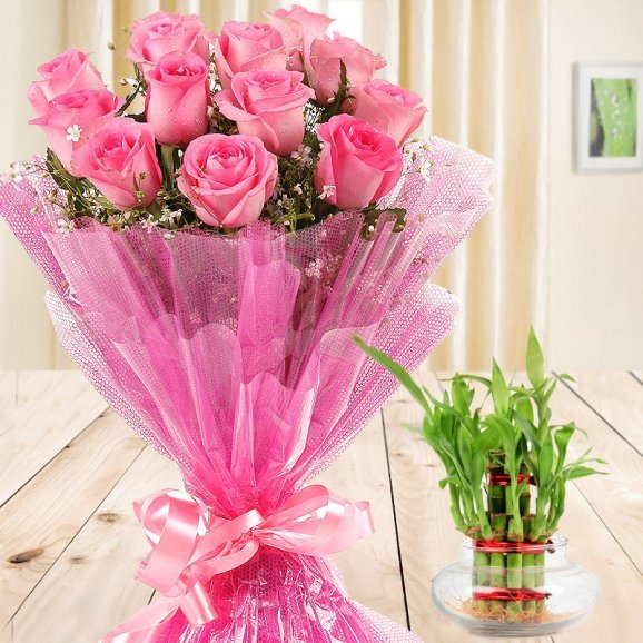 Gift Of Fondness - A combo of 12 pink Roses and 2 layer lucky bamboo