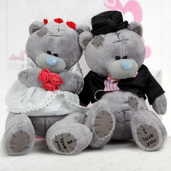 12 inches grey colored Happily Married Teddy couple