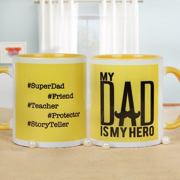 Hashtag Super Dad Mug with Both Side View