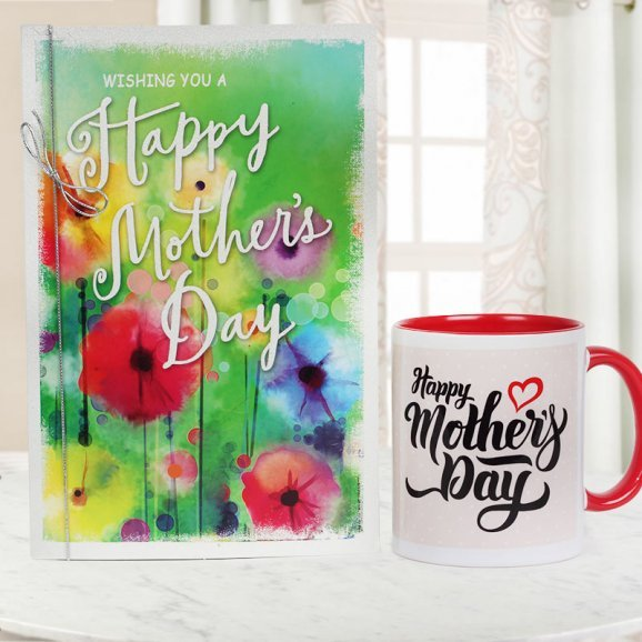 A Mothers Day Greeting Card with a Mothers Day Special Mug