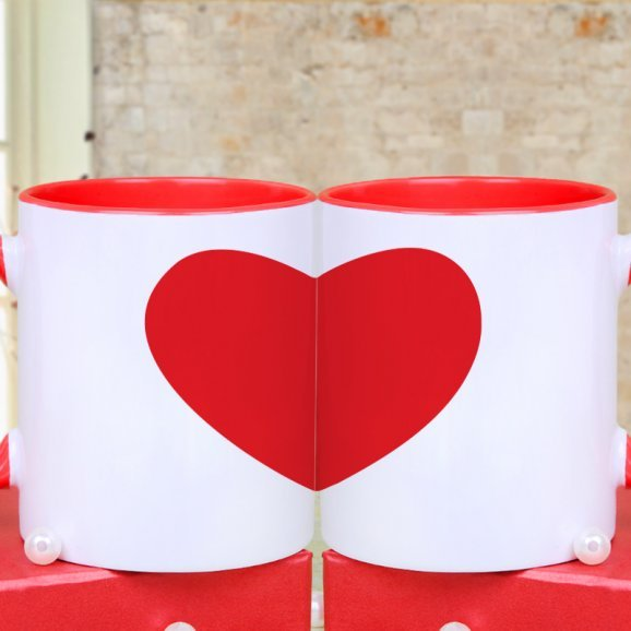 Heart Attraction - White Printed Mugs with Back Sided View