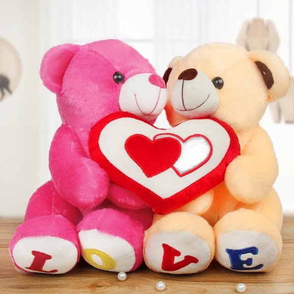 Pink and beige color couple teddy