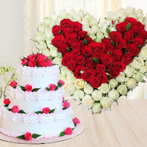 Hearts And Roses - Combo of 3 tier vanilla cake and heart shaped mixed roses