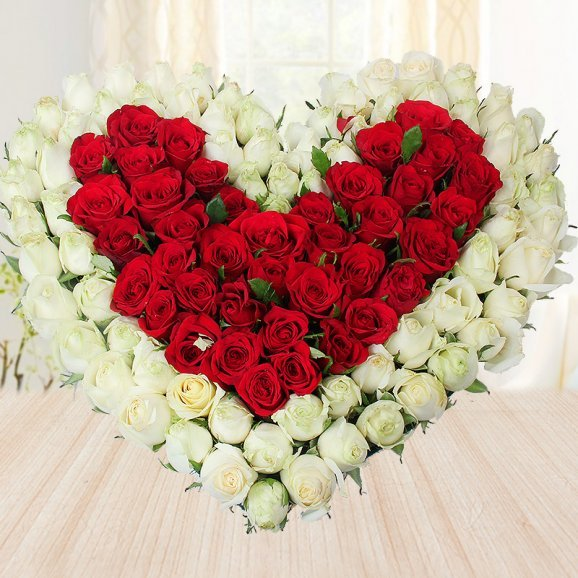 Heart shaped mixed roses - First gift of Hearts And Roses