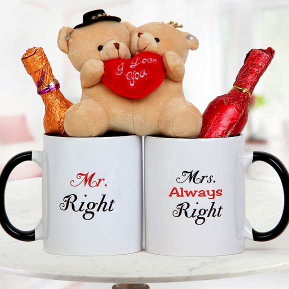 Pair of Teddies with two champagne shaped handmade chocolates and Mr. Right and Mrs. Always Right mugs