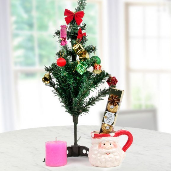 3ft Christmas tree with a scented candle with cute Santa mug and a pack of 4 Ferrero Rocher