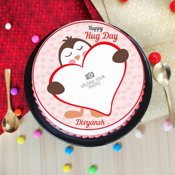 Photo Cake for Hug Day - Top View