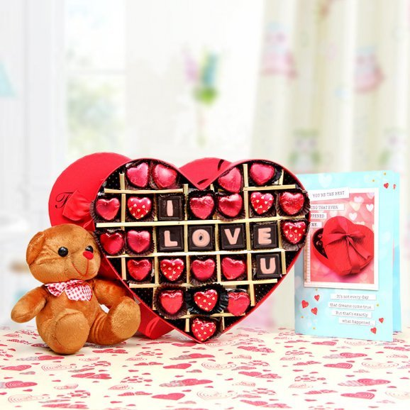 A combo of greeting card and teddy with handmade chocolates