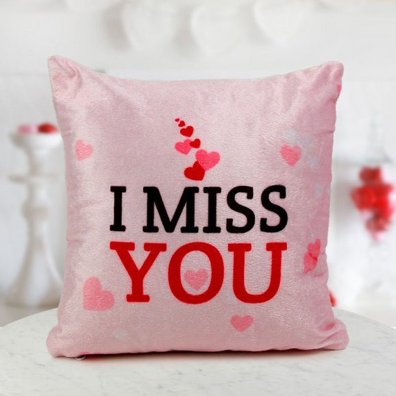 A 12x12 I Miss You cushion for your loved ones