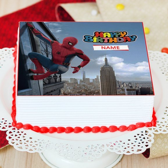 Spiderman Themed Birthday Photo Cake - Zoom View