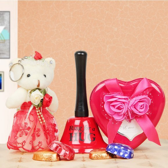 Teddy with chocolates and love bell combo