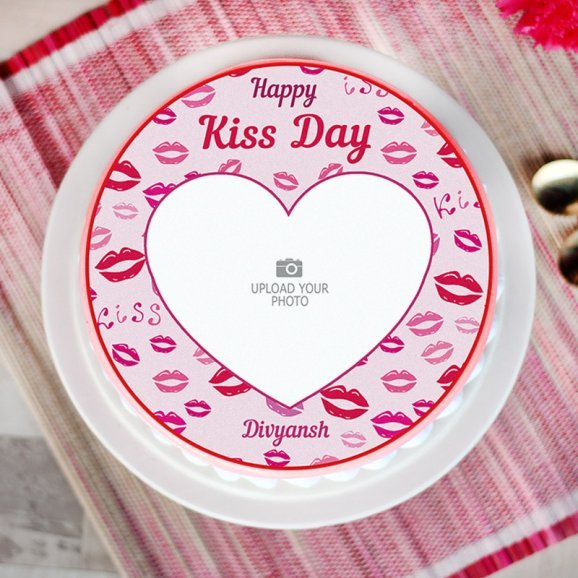 Photo Cake for Kiss Day - Top View