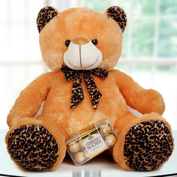 A Combo of 24 Inch Brown Teddy Bear and A Pack of 8 Ferrero Rocher