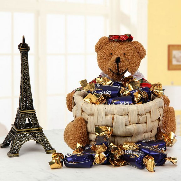 6 inches Eiffel Tower and A little bear with basket full of Choclairs candies