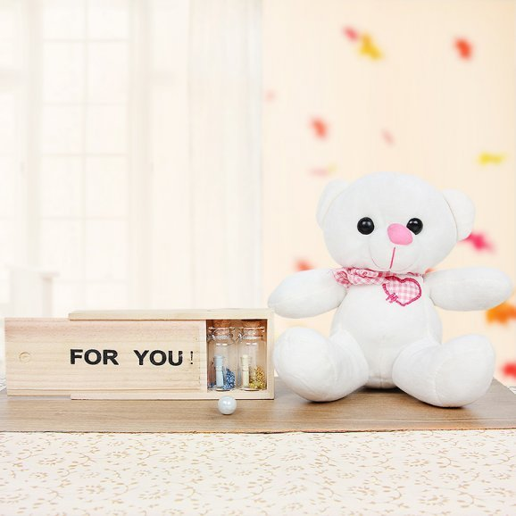 A teddy and love letters in bottles combo