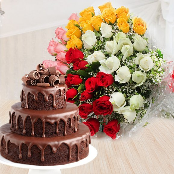 Luxurious Chocolate Drip Cake - Combo of mixed roses and 3 tier chocolate cake
