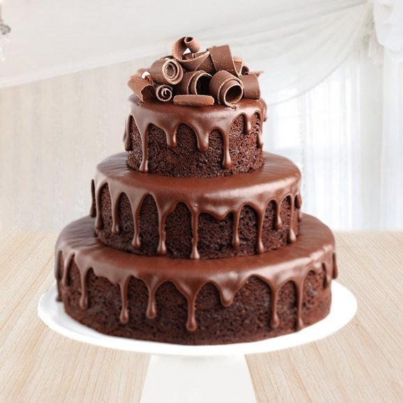 Front view of 3 tier chocolate cake - First gift of Luxurious Chocolate Drip Cake