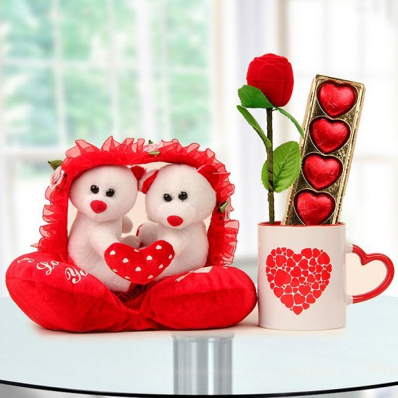 3 inches couple Teddy A rose shaped ring box A pack of handmade chocolates and A Coffee Mug