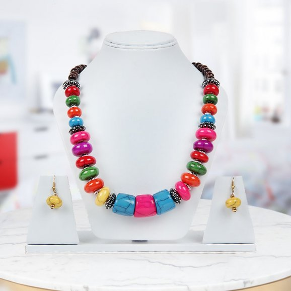 Multicolored bead love necklace with earings