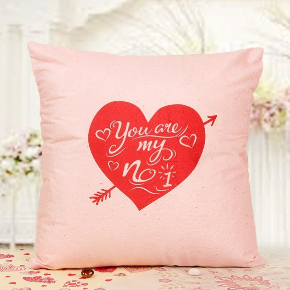 Red heart printed cushion