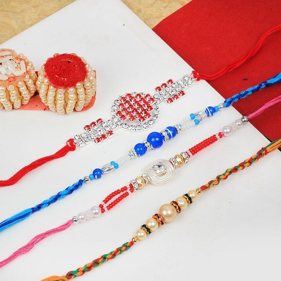 Glorious Set of 4 Rakhi