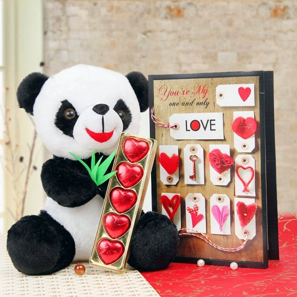 Combo of panda and chocolates with a card