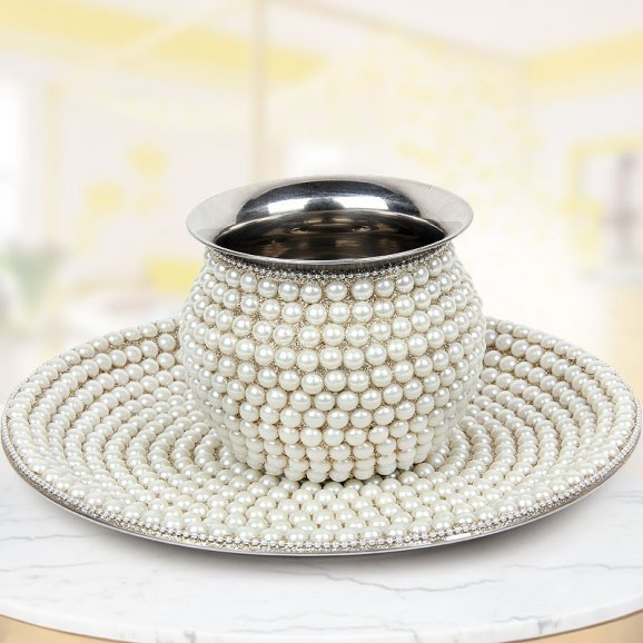 Pearl Wrapped Karwa Chauth Pooja Thali and Kalash - Order Now