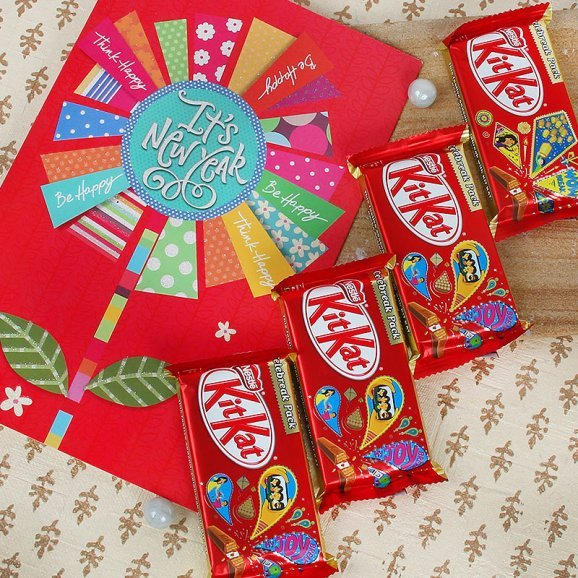 A New Year card with Kitkat chocolates