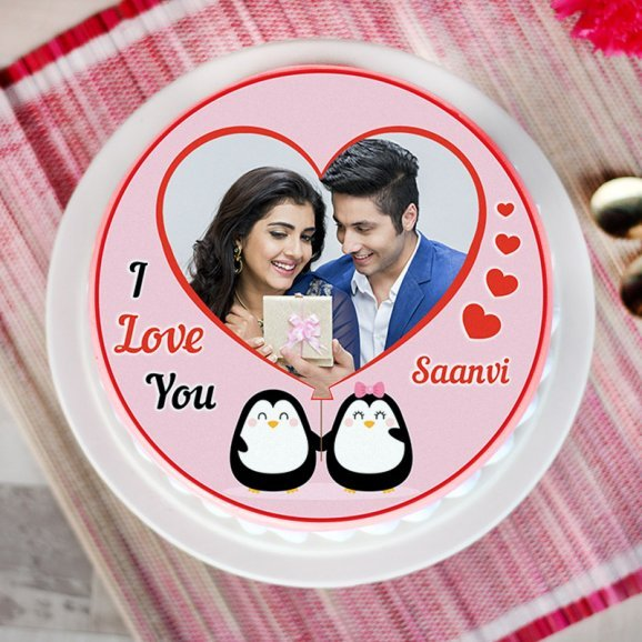 Propose day special photo cake