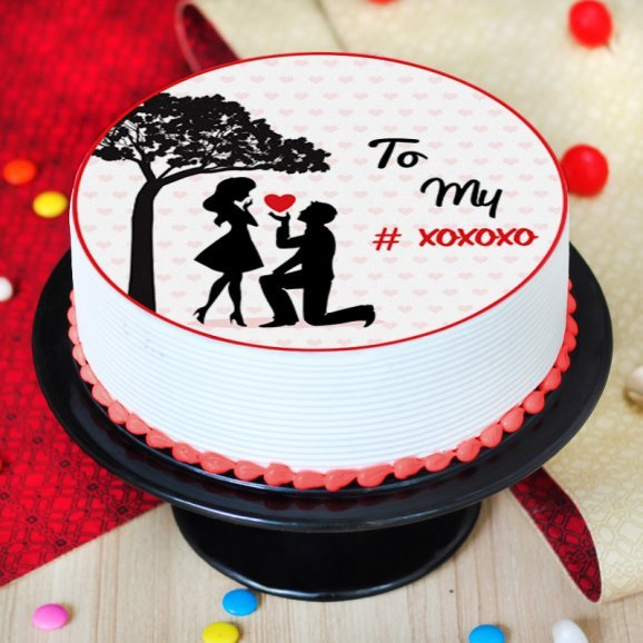 Photo cake for propose day - Top View