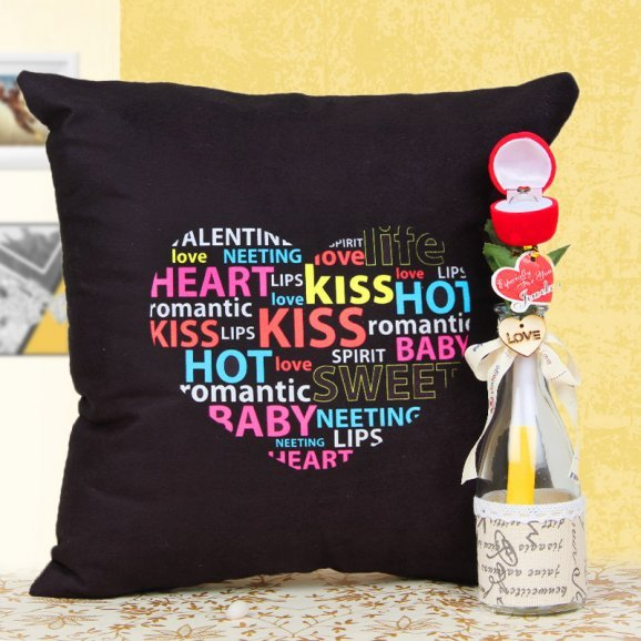 Love bottle with a ring and cushion combo