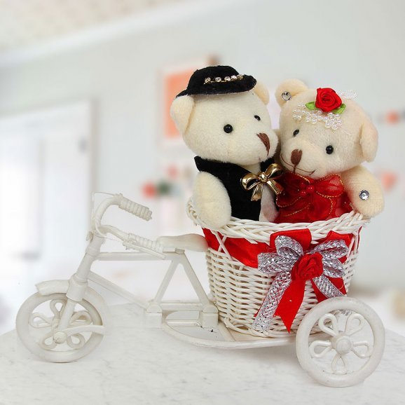 A cute basket cycle with 3 inches couple Teddies