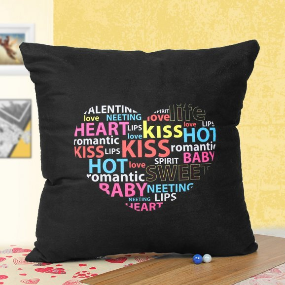 Black Romantic Quoted Cushion