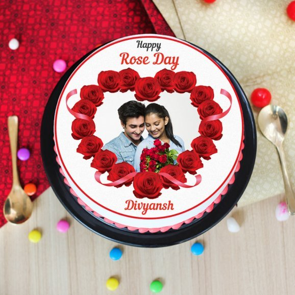 rose day special photo cake