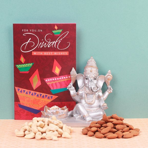 Diwali Combo of Greetong Card with God Idol and Dry Fruits