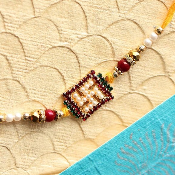 Swastik Pearl Rakhi For brothers online