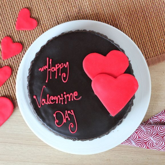 Choco truffle cake with 2 hearts for valentine - Top View