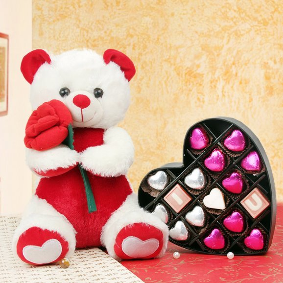 Combo of teddy and chocolates