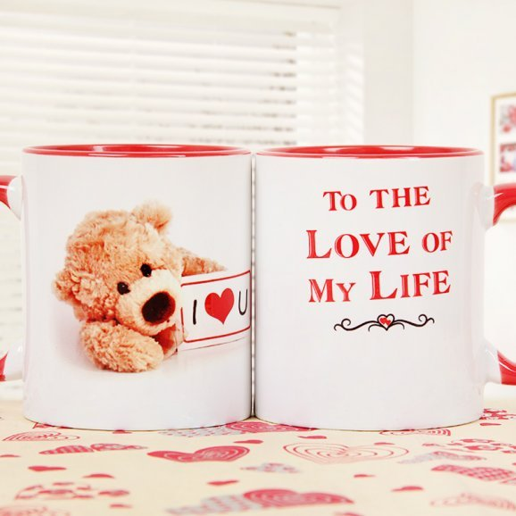 One Love Mug with Printed Teddy and Quote