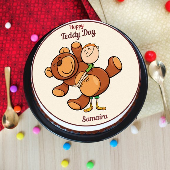 Photo cake for teddy day