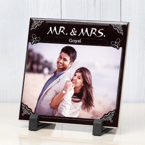 Personalised Ceramic Tile for Couple with Oblique View
