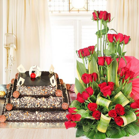 Triple-Layered Ferrero Love - Combo of 3 tier ferrero rocher cake with bouquet of red roses