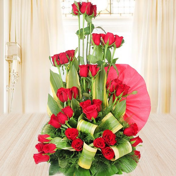Bouquet of red roses - 1st gift of Triple-Layered Ferrero Love