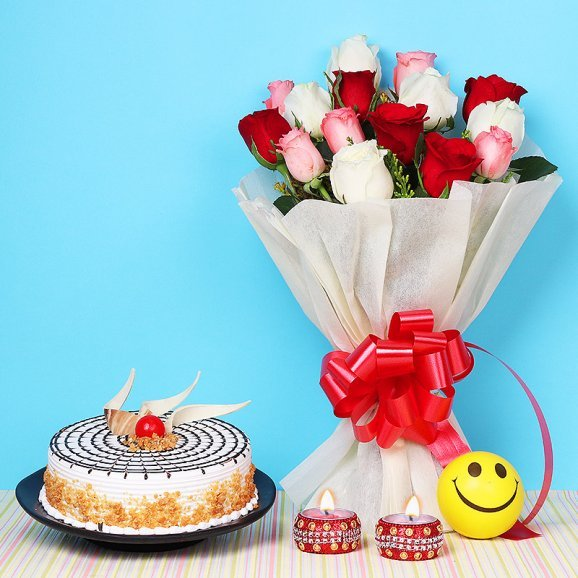 Unfolding Happiness - A Diwali gift hamper of 15 mixed flowers bunch and Butterscotch Cake